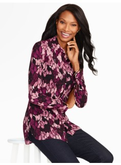 Feather Print Button-Front Shirt