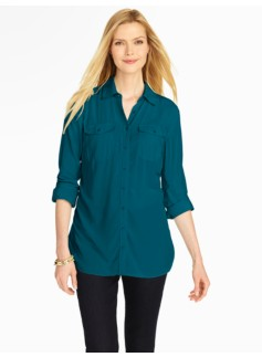 Refined Tunic Button-Down Shirt
