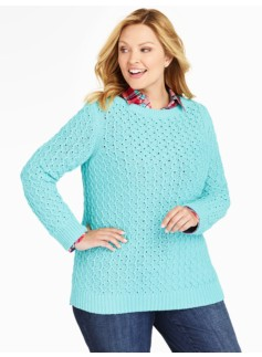 Diamond-Stitched Tunic Sweater