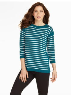 Preppy Stripe Drop-Shoulder Sweater