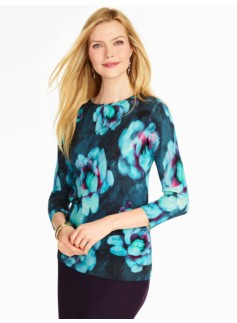 Cashmere Watercolor Floral Sweater