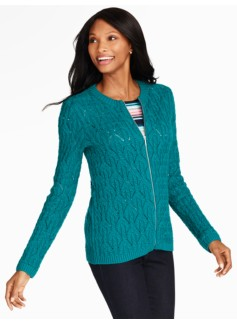 Cable Zip-Front Sweater