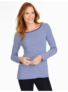 Striped Button-Cuff Boatneck Tee
