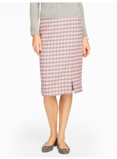 Festive Houndstooth Pencil Skirt