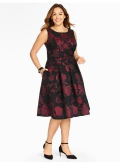 Rose Jacquard Fit-And-Flare Dress