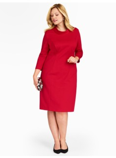 Three-Quarter Sleeve Ponte Sheath Dress