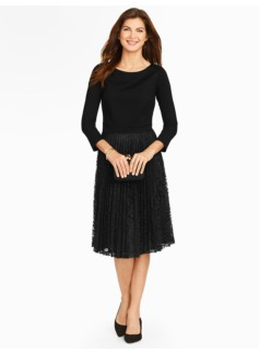 Ponte and Lace Fit-And-Flare Dress