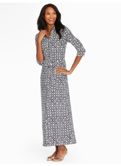 The Classic Maxi Shirtdress - Grecian Geo