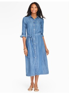The Classic Maxi Shirtdress - Medium Skyfall