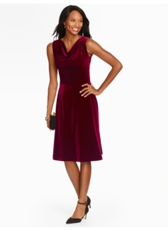 Draped-Neck Velour Fit & Flare Dress