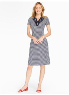 Soutache-Trimmed Fit & Flare Dress - Striped