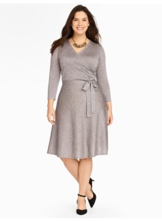 Metallic Surplice-Wrap Dress