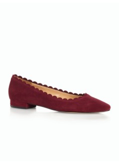 Edison Scalloped Suede Pointy-Toe Flats