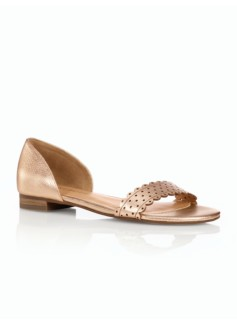 Luciana Perforated Scalloped Metallic Sandals