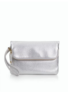 Foldover Top Zip Pebbled Leather Wristlet - Metallic