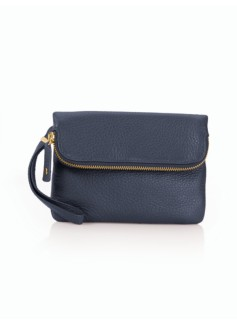 Foldover Top Zip Pebbled Leather Wristlet