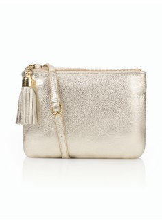 Metallic Leather Tassel Cross-body Bag