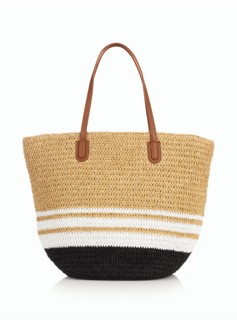 Stripe Crushable Straw Tote