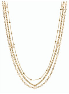 Pearl & Chain Multi-Strand Necklace