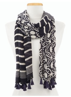 Grecian Geo Mixed-Stripe Scarf
