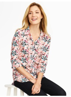 Snow Birds & Floral Button Front Shirt