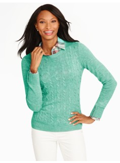 Button-Cuff Cable Sweater