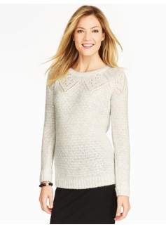 Pointelle-Diamond Yoke Sweater