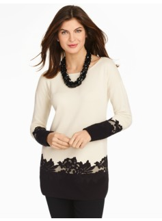 Lace-Applique Sweater