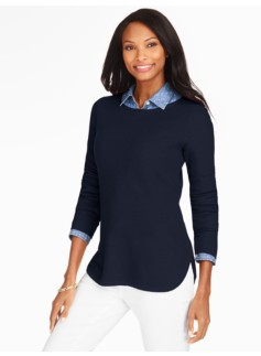 Piqu� Curved-Hem Sweater