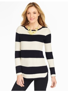 Stripe Piqu� Curved-Hem Sweater