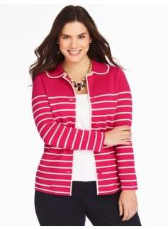Block-Striped Sweater Jacket