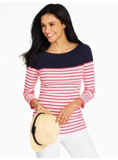 Bateau-Neck Tee - Bright Stripes