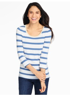 Scoop-Neck Tee-Silver Sparkle-Tipped Stripes