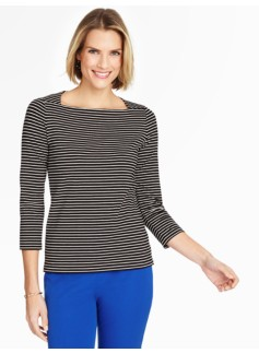 Envelope-Shoulder Tee - Victoria Stripes
