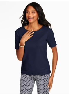 Scalloped-Hem Tee