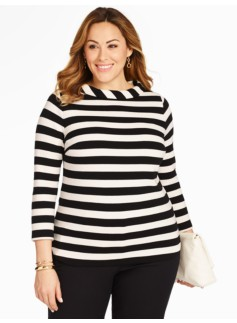 Portrait-Collar Top - Stripes