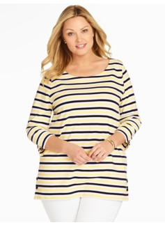 Side-Button Tee - Mixed Bright Stripes