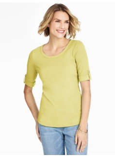 Roll-Tab Sleeve Ballet Neck Tee