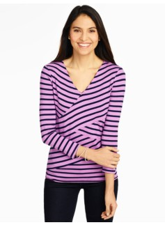 Platinum Jersey Top - Crisscross Stripes