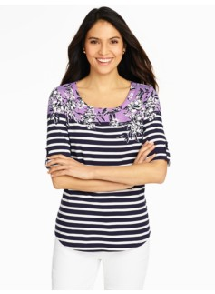 Roll-Tab Sleeve Bateau Tee - Flowers & Stripes