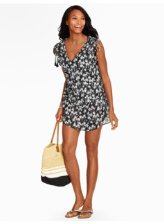 Tossed Palms Cinched-Shoulder Cover-Up