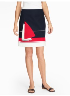 Sailboat Colorblocked A-Line Skirt