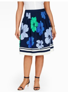 Pansies & Stripes Pleated Skirt