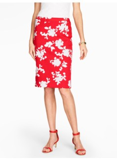 Rose Silhouette Pencil Skirt