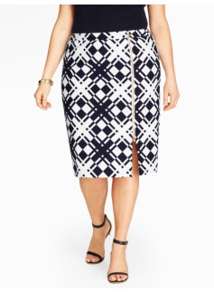 Geo-Block Plaid Pencil Skirt