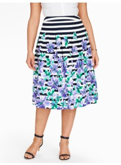 Orchid & Stripes Pleated Skirt