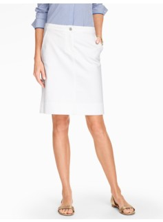 Denim A-line Skirt - White