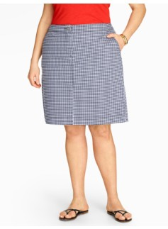 Denim A-Line Skirt-Gingham Checks