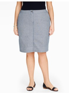 Denim A-Line Skirt-Ticking Stripe