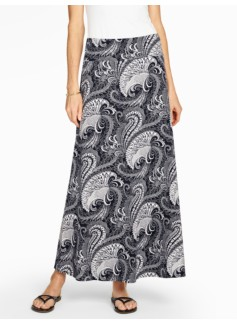Feather Paisley Maxi Skirt